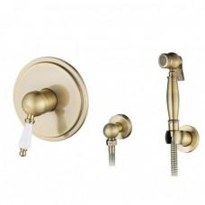 KAISER Vincent 31017-1 Bronze Смеситель скрытого монтажа с гигиеническим душем (белая ручка), бронза